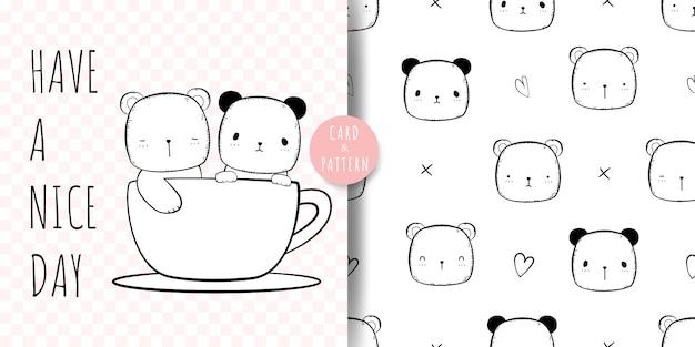 Niedlicher bär und panda cartoon doodle nahtloses muster und karte