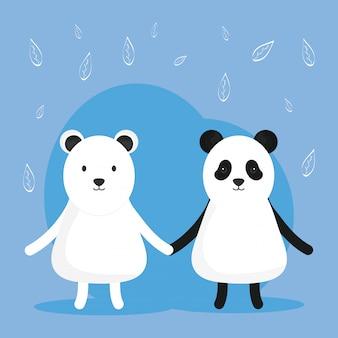Niedlicher bärenpanda und entzückende polarfiguren