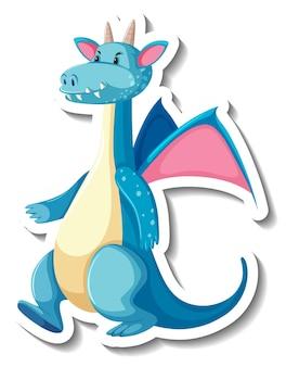 Niedlicher blauer drache-cartoon-charakter-aufkleber