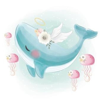 Niedlicher blauer engels-wal, der mit den quallen schwimmt