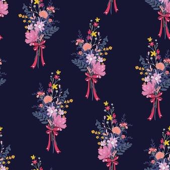 Niedlicher blumenstrauß gartenblumen mit rosa bändern nahtlose muster vektor eps10, design für mode, stoff, textilien, tapeten, cover, web, verpackung und alle drucke auf dunkelblau