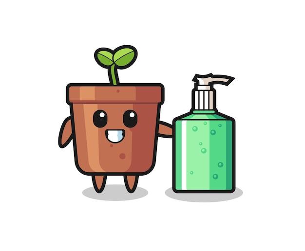Niedlicher blumentopf-cartoon mit händedesinfektionsmittel, niedliches design für t-shirt, aufkleber, logo-element