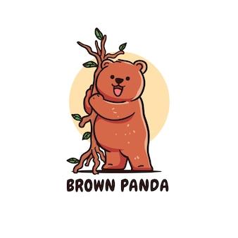 Niedlicher brauner pandabär-charakter, der zweig-illustration hält