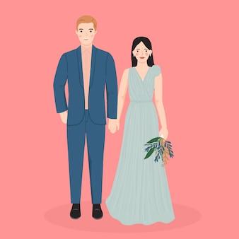 Niedlicher braut- und bräutigamkarikatur für hochzeitseinladungskartenschablone