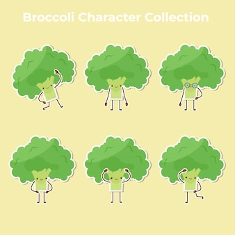 Niedlicher brokkoli-charakter-sammlungsvektor