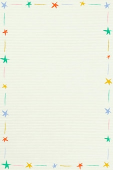 Niedlicher bunter illustrierter sternrahmen auf einem beigen hintergrund