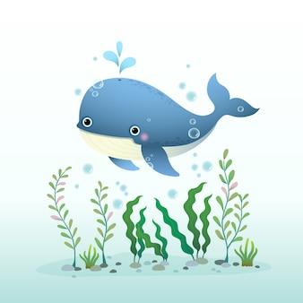 Niedlicher cartoon-blauwal, der unter wasser mit seetang schwimmt.