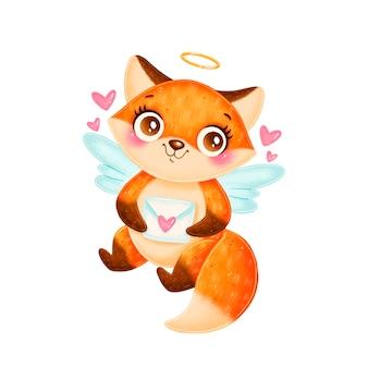 Niedlicher cartoon cupid fox isoliert. valentinstag tiere.