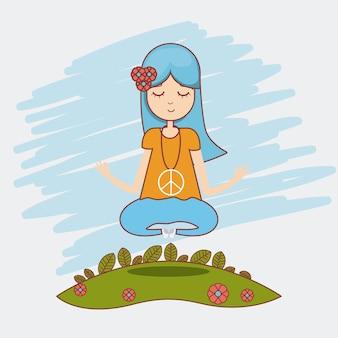 Niedlicher cartoon der hippie