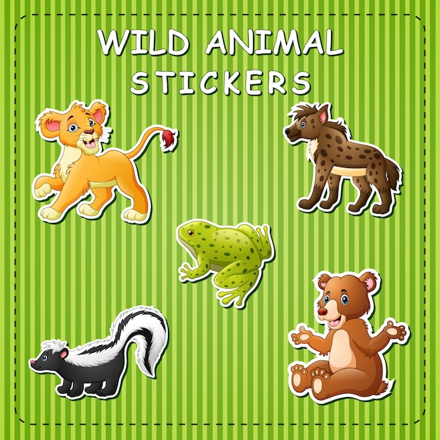 Niedlicher cartoon der wilden tiere auf aufkleber Premium Vektoren