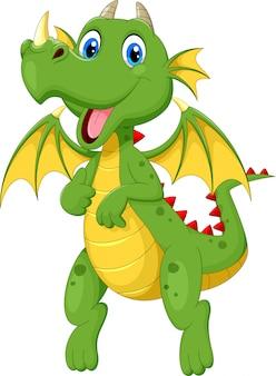 Niedlicher cartoon des grünen drachen