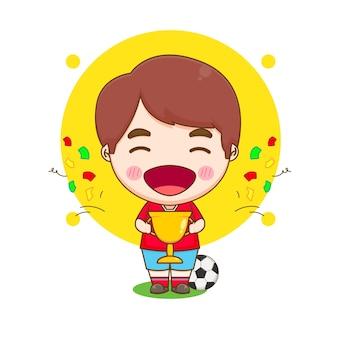 Niedlicher cartoon-fußballspieler, der eine goldene trophäe als gewinner chibi-charakterillustration hält