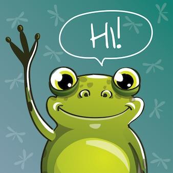 Niedlicher cartoon hapy lustiger frosch. grußkarte, postkarte. hallo.