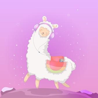 Niedlicher cartoon lamaentwurf
