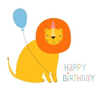 Niedlicher cartoon-löwe mit einem ballon grußkarte mit einem löwen in einem partyhut mit einem ballon