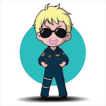 Niedlicher cartoon-luftwaffen-pilot