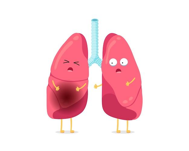 Niedlicher cartoon lustiger ungesunder krankheitslungencharakter, der krankes lungenmaskottchen mit lungenentzündung mensch leidet