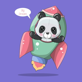 Niedlicher cartoon-panda fliegt auf einer rakete
