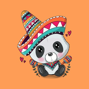 Niedlicher cartoon-panda mit mexiko-hut. cinco de mayo