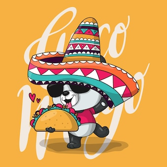 Niedlicher cartoon-panda mit mexiko-hut und tacos. cinco de mayo