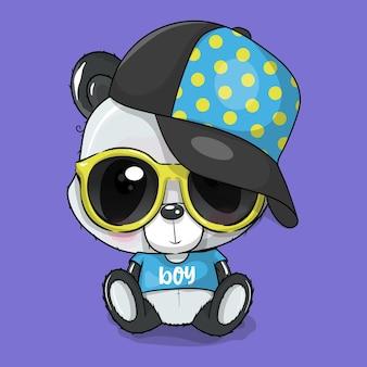 Niedlicher cartoon-panda mit mütze und brille-vektor-illustration
