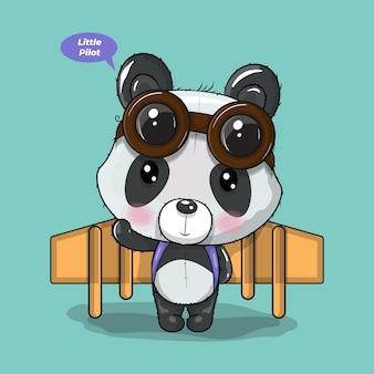 Niedlicher cartoon-panda spielt mit einem flugzeug