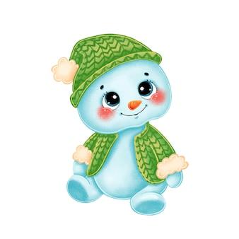 Niedlicher cartoon-schneemann in grüner strickmütze und pullover