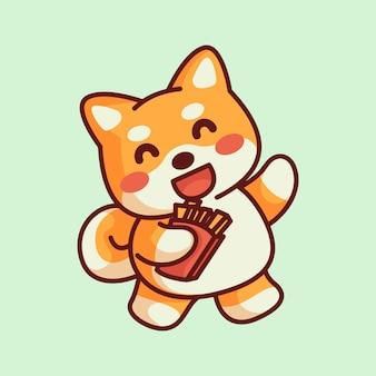 Niedlicher cartoon shiba inu hund mit niedlichem schädel in der hand