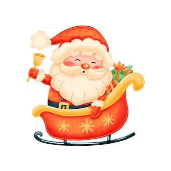 Niedlicher cartoon-weihnachtsmann im schlitten mit weihnachtsgeschenken