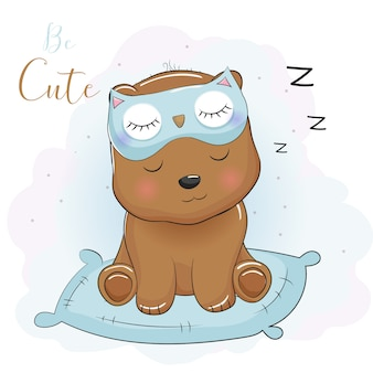Niedlicher cartoonbär, der mit augenmaske schläft