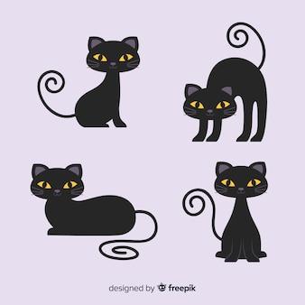 Niedlicher cartooncharakter der schwarzen katze