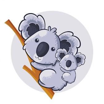 Niedlicher cartooncharakter-koala. babypartydruck mit niedlichem koala