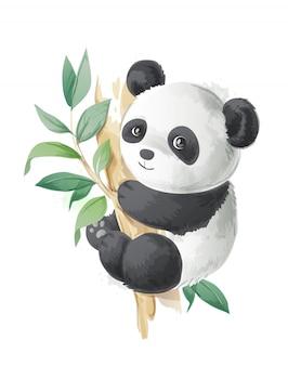 Niedlicher cartoonpanda auf einer baumillustration