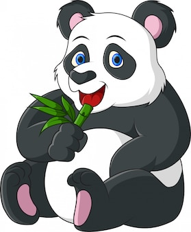Niedlicher cartoonpanda, der bambus isst