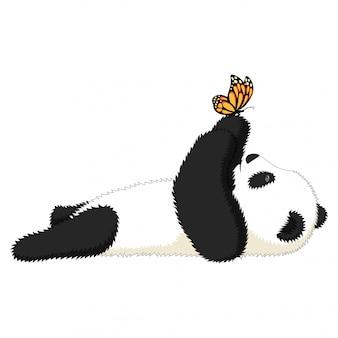 Niedlicher cartoonpanda spielt mit einem schmetterling