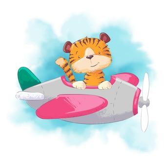 Niedlicher cartoontiger in einem flugzeug auf einer aquarellart. vektor-illustration