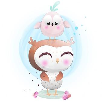 Niedlicher charakter der babyeule gemalt mit aquarell