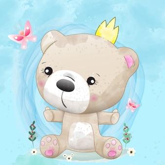 Niedlicher charakter des babybären gemalt mit aquarell