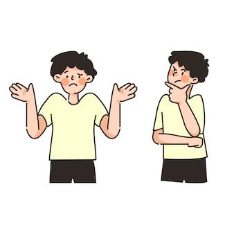 Niedlicher charakter kerl, der emotion pose set denkkonzept bezweifelt