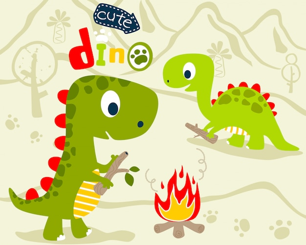 Niedlicher dino-cartoon
