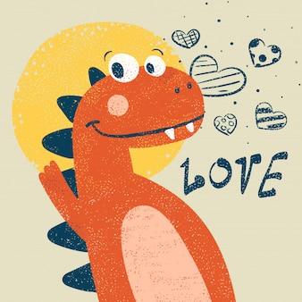 Niedlicher dino, dinosaurierillustration für druckt-shirt.