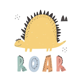 Niedlicher dino mit schriftzug roar-slogan-grafik mit lustigen dinosaurier-cartoons. Premium Vektoren