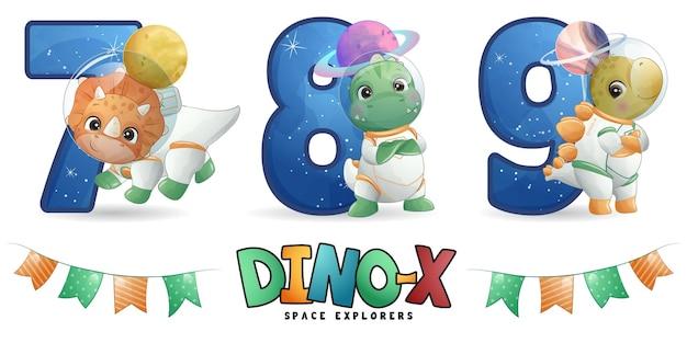 Niedlicher dinosaurier-astronaut mit nummerierungs-illustrationsset