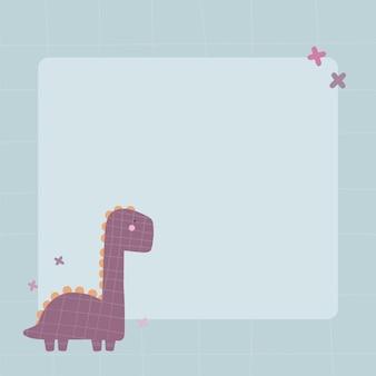 Niedlicher dinosaurier mit einem fleckrahmen im einfachen handgezeichneten cartoon-stil vorlage für ihren text oder ihr foto