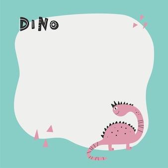 Niedlicher dinosaurier mit einem fleckrahmen im einfachen handgezeichneten cartoon-stil.