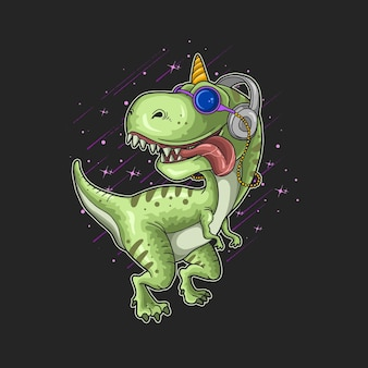 Niedlicher dinosaurier mit kopfhörerillustration
