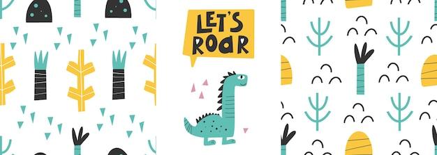 Niedlicher dinosaurier mit mustern handgezeichnet kindisch abstrakt nahtlose druckdesign digitales papier