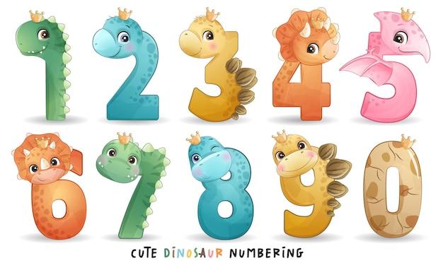 Niedlicher dinosaurier mit nummerierungssammlung