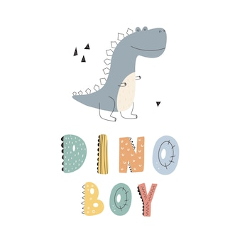 Niedlicher dinosaurier mit schriftzug dino-jungenslogangraphik mit lustigen dinosaurierkarikaturen.