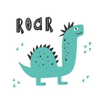 Niedlicher dinosaurier mit slogan-grafik brüllen lustige dino-karikaturen